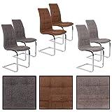 Esszimmerstuhl Freischwinger Stoff Stuhlgruppe Esszimmerstühle Schwingstuhl Set (4 Stück, Beige-Grau)