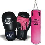 BAY Boxset PINK Sandsack+Boxhandschuhe 'FUTURE schwarz / pink' (8 Unzen)