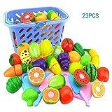 Quner Spiel-Lebensmittel Set, Kinder Schneiden Obst Gemüse Pizza Kunststoff ,Pretend Küchenspielzeug Rollenspiele Pädagogisches Spielzeug ,23-Teilig
