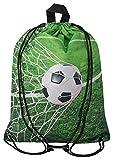 Aminata Kids - Kinder-Turnbeutel für Mädchen und Junge-n mit für Echt-e Sport Fan-Artikel Ecke-n Motiv verstärkt WM Fussball Sport-Tasche-n Gym-Bag Sport-Beutel-Tasche grün Weiss