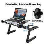 SLYPNOS Laptop Ständer mit Lüfter, Notebook Halterung Tisch Tablet Halter bis 15.6'' Laptop ergonomisch 360° Verstellbar faltbar, mit 2 Lüfter und Mausablage