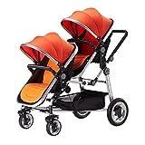 WUZHI Doppel-Kinderwagen Doppelkombi Doppel-Kinderwagen Mit Kinderwagenaufsatz Neugeborenes Und Kleinkind,Orange