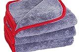 glart 443TP Premium Flausch 3er Set Mikrofasertücher, ultraweich für perfekte Lackpflege, anthrazit mit roter Kante 40 x 40 cm