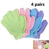 Peeling-Handschuhe in Premium-Qualität - 4 Paar Ganzkörperpeeling - Dusch- oder Badepeeling-Zubehör für Männer und Frauen - Peelt abgestorbene Zellen für weiche Haut Carry stone