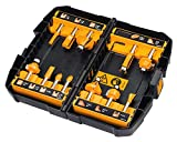 DeWalt 12-tlg. Hartmetall Fräser-Set (mit Anti Kickback Design, Premium Stahlkörper, HM Schneidplatten und austauschbarem Kugellager, inkl. Box) DT90016
