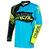O'Neal Element Burnout MX Motocross Jersey Trikot Shirt Enduro Offroad Gelände Quad Cross Erwachsene, 0008, Farbe Blau Hi-Viz Gelb, Größe S
