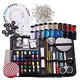 BENECREA Näh- & Strick Werkzeuge Kits, 272 Stück Nähzubehör mit Knöpfen & Stifte & Scheren & Bleistift & Nähgarne & Stricknadeln & Häkelhaken & Stoff Nadelkissen