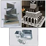 EUROTINS Kuchenform-Set, 4 Etagen, quadratisch, ausgefallenes Topsy-Turvy-Design, Seitenlängen (jeweils 1 Stück im Set enthalten): 15,2/ 20,3/ 25,4/ 30,5cm