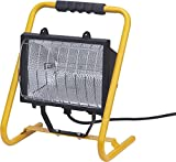 Brennenstuhl Halogenstrahler / Flutlicht Halogen ideal als mobiler Baustrahler (Außenstrahler IP54 geprüft, 1,5m Kabellänge, 1000 Watt) Farbe: gelb