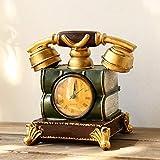 GOUDAIDAI Geschenk Für Den Lehrer Amerikanische kreative Uhr Ornamente Modell eingerichtet Wohnzimmer Studie Desktop Dekorationen, Goldener telefonapparat