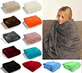 Fashion&Joy PREMIUM Flanell Kuscheldecke Super Soft 200 x 150 cm XL in anthrazit grau - pflegeleicht - fusselfrei - geprüfte Qualität - Ökotex zertifziert - Wohndecke dunkelgrau Typ380
