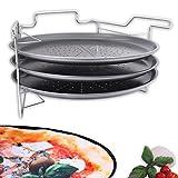 Pizza Backset Ofenständer mit 3x Backblech 'PizzaMaker' für 3 Pizzas Ø 32,5 cm