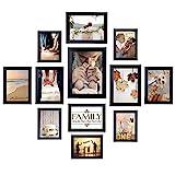 Homemaxs Bilderrahmen 12er Collage Bilderrahmen Wandbefestigung Bilderrahmen Umweltfreundlicher Familienfotorahmen von 5 STK. 10x15 cm, 4 STK. 13x18 cm, 2 STK. 15x20 cm, 1 STK. 20x25 cm (Schwarz)