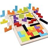 B&Julian  Holzpuzzle Tetris Tangram Kinder Steckspiel Legespiel bunt Holz geometrisch Formen und Farben mit Box Knobelspiele (1er Pack)