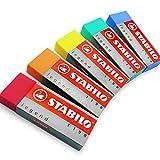 STABILO Legend Farbige Radierer Kunststoff Gummi Radierer '5Pack [1von jeder Farbe]