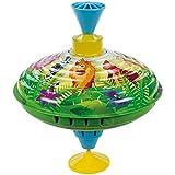 Bolz 52363 - Brummkreisel Dschungeltiere, Ø 16 cm, Schwungkreisel aus Blech, Musikkreisel erzeugt mehrstimmige Töne, Spielzeugkreisel für Kinder ab 1,5 Jahre, Blechkreisel Metall mit Dschungel Tieren