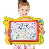 Magnetisches Zeichenbrett, Große (43 x 30 x 5 cm) Kinder Zaubertafel Doodle Board Pad Bunt Zeichenbrett mit 3 Magnetische Stempel Zaubertafeln für Kinder ab 3 4 5 6 7 Jahre Alt