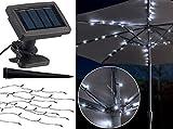 Luminea Schirmbeleuchtung: Solar-LED-Sonnenschirm-Lichterkette mit 8 Strängen und 72 LEDs, IP44 (Regenschirm mit Lichterkette)