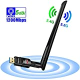Auervo WLAN Stick, 1200Mbit/s WiFi Adapter, Dual Band 5GHz 866Mbps/2.4GHz 300Mbps USB WiFi Dongle mit 5dBi Antenne für Windows XP/ 7/8/ 8.1/10/ Vista, Mac OS X 10.4-10.12