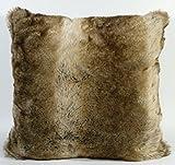 LUXUS Fell-Kissen-Fellimitat-Kuschelkissen-Dekokissen Rückenkissen Sofakissen Hochffor 50 x 50 cm Grizzly Bär