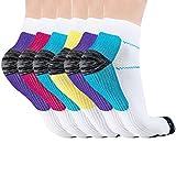 Acexy Kompressionsstrümpfe Laufsocken, für Damen und Herren, lindern Schmerzen, unterstützen Ferse, Fußbogen und Knöchel Arch & Knöchel (6 Paare, S/M)
