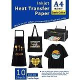 Transferpapier Transferfolie Bügelfolie für Dunkle Textilien Tintenstrahldrucker für T-Shirts Bedruckbares Wärmeübertragungsvinyl 8,5 x 11 Zoll Packung mit 10 Blättern