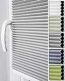 Home-Vision Doppelplissee Wabenplissee ohne Bohren mit Klemmträger / -fix (Weiß-Grau, B80cm x H150cm) Zweifarbig Blickdicht Sonnenschutz Jalousie für Fenster & Tür