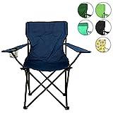 Nexos Angelstuhl Anglerstuhl Faltstuhl Campingstuhl Klappstuhl mit Armlehne und Getränkehalter praktisch robust leicht blau