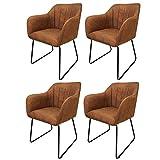Roomando Armlehnen Stuhl 4er-Set Bombay Cognac Esszimmerstuhl Schalenstuhl Lehnenstuhl Freischwinger (4er Set Cognac)