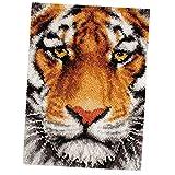 F Fityle Knüpfteppich für Kinder und Erwachsene zum Selber Knüpfen Teppich, Tiger/Wolf Tier Auswählbar - Tiger