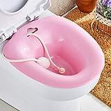EasyBravo Sitzbadewanne, mit Flusher über die Toilette, Dammbad zur hämorrhoidalen Entlastung, ideal für postepisiotomie-Patienten, für schwangere Frauen, für ältere Menschen, Rosa