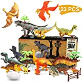 WOSTOO Dinosaurier Spielzeug Set, 23pcs Figur Dinosaurier mit 6pcs Simulierte Pflanze Dinosaurier Spielzeug Dinosaurier Blöcke Set Kunststoff Dinosaurier Figuren Party für Kinder 3-8 Jahre Alte