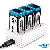 Keenstone 3-Slot 9V PP3 Akku Li-Ion-Ladegerät mit 3 Pack 9V PP3 Li-Ionen-Akku Wiederaufladbare 800mAh (USB-Ladekabel im Lieferumfang enthalten)