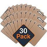 Klemmbrett mit Papier Clip, Clipboard-Set   Umweltfreundliche Klemmmappe für DIN A4 Unterlagen, Schreibblock mit Metallclip (30 Stück)