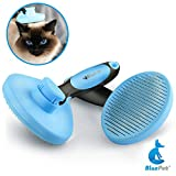 Bluepet *ZupfZeug* Fellbürste mit Click Clean Selbstreinigend |Sanfte Katzenbürste Zupfbürste | Kurzhaar bis Langhaar