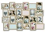 levandeo Bilderrahmen Collage B x H: 84x57cm 24 Fotos 10x15 10x15 Eiche gekälkt MDF Holz fertig montiert Glas