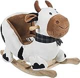 Bieco 74000357 - Plüsch Schaukeltier Kuh, weiß mit schwarzen Flecken, Kinder Schaukelstuhl, Sicherheitsgurt und Rückenlehne, ca. 68 x 35 x 54 cm