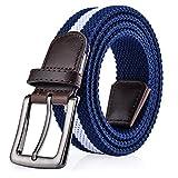 ITIEZY Elastischer Stoffgürtel Stretchgürtel Geflochtener Stretchen Gürtel für Damen und Herren, Gr.-Länge: 110cm (43.30 Zoll), Blau Weiß 1