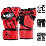 Brace Master MMA Handschuhe UFC Handschuhe Leather Padding für Männer, Frauen, Knöchelgelenkschutz, Fingerlose Sparring-Handschuhe für das Training, Kickboxen, Muay Thai, Boxen (Rot S)