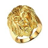 Yodensity Herren Edelstahl Ring Fingerring Bandring Goldlöwe Kopf Form