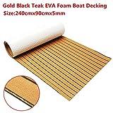 EsportsMJJ 240cmx90cmx5mm Gold mit Schwarzen Linien Marine Flooring Faux Teak Eva Foam Boat Decking Lake