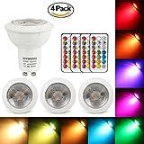 LED Lampe GU10 RGB+Warmweiß Farbwechsel Spot Licht Dimmbar 3W, 200LM, AC 85V - 265V, mit IR-Fernbedienung für Wandleuchte, Schienenleuchte, Deckeneinbauleuchte (4 Lampen + 4 Fernbedienungen)