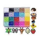 MJARTORIA 20 Farben 2.6mm/5mm Kinder Bügelperlen mit Steckplatte Steckperlen Perlen Beads Bastelperlen Geburtstag Geschenkset
