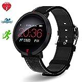 Polywell Fitness-Tracker, Aktivitätstracker mit Herzfrequenz-Monitor und Schlaf-MonitorSchrittzähler und Kalorienzähler für Android und iOS (Schwarz)