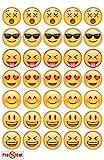 40x Pre Cut Emoji-Kuchen, Cupcake Topper/Dekoration Essbar Wafer Papier