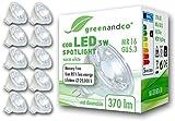 10x greenandco LED Spot ersetzt 33 Watt MR16 GU5.3 Halogenstrahler, 5W 370 Lumen 3000K warmweiß COB LED Strahler 38° 12V AC/DC Glas mit Schutzglas, nicht dimmbar, 2 Jahre Garantie