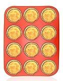 Philonext Silikon Muffinform, rote 12er Cupcake Backform / antihaftbeschichtet / spülmaschinenfest / mikrowellensicher