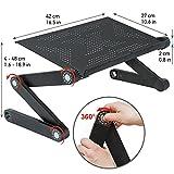 Wonder Worker Newton Ergonomisch Laptoptisch | Verstellbarer Laptop Stand | Notebook Ständer aus Leichte Aluminium Schwarz
