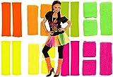 80er Neon Schweißband Stirnband Stulpen Set 4 Farben (pink)