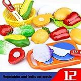 Küchenspielzeug für Kinder, Gusspower Plastik Obst Gemüse Spaß Cutting Pretend Spielzeug Set, Kinder Rollenspiele Toy, Pädagogisches Frühes Alter Grundlegende Fähigkeiten Entwicklung (12PCS)
